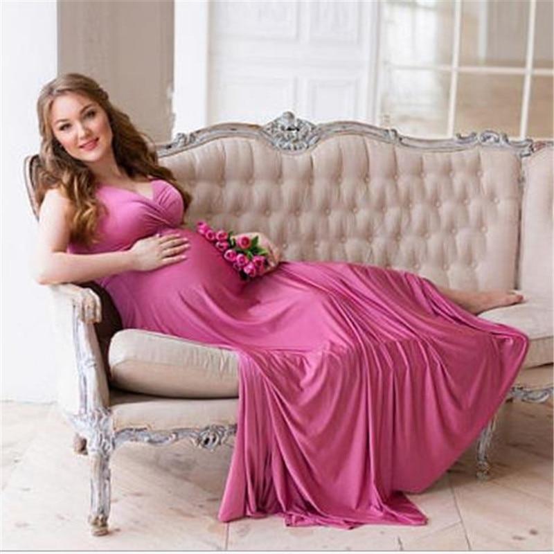 Maternity Dress Photography Props Maxi Dress Elegant Pregnancy Photo Shoot Evening Dress Sleeveless V-Neck Pregnant Clothes photo shoot