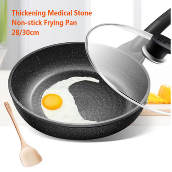 15%,with lid Thicken Medical Stone Non-stick Frying Pan Multi-purpose Pancake Steak Pan No fumes Use for Gas Induction Cooker