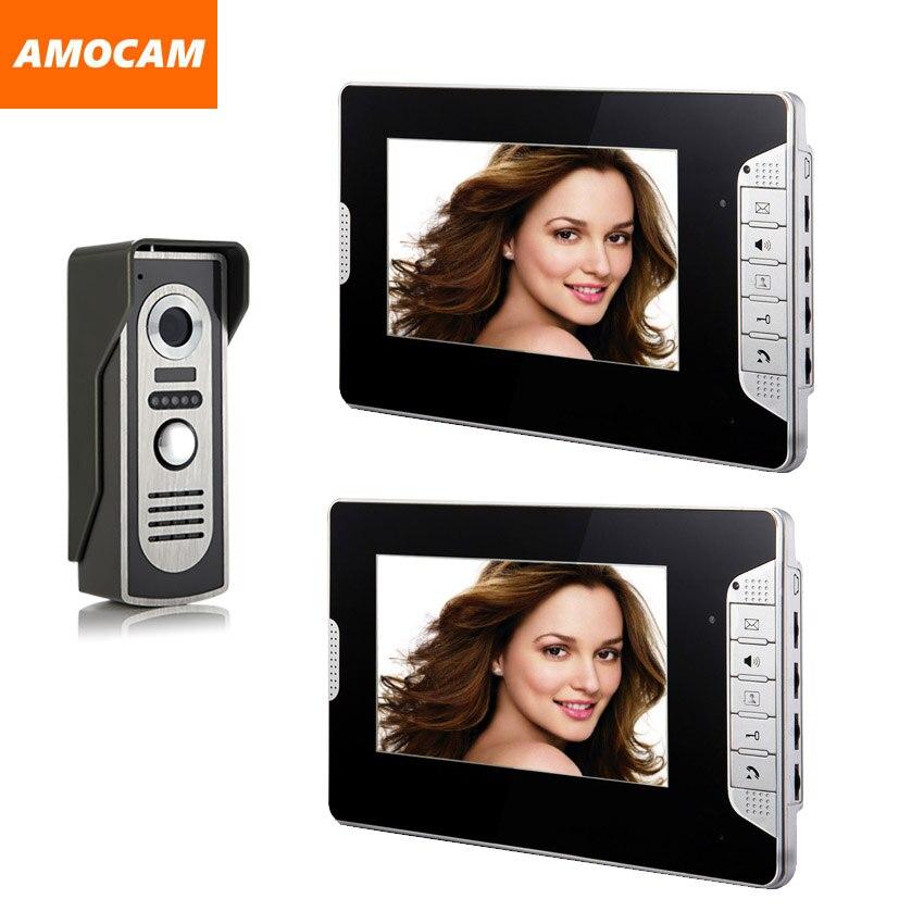 7 дюймов монитор видеофонная дверная система алюминиевый сплав камера ночного видения видео-дверной звонок визуальный домофон 2-экран