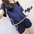 Estilo caliente de pescado azul tela encantadora pijamas de las señoras trajes de verano de manga corta de Corea Del verano femenino de los hogares a tomar
