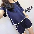 Hot style fish blue fabric lovely ladies pajamas Korea summer suits summer short-sleeved female household to take
