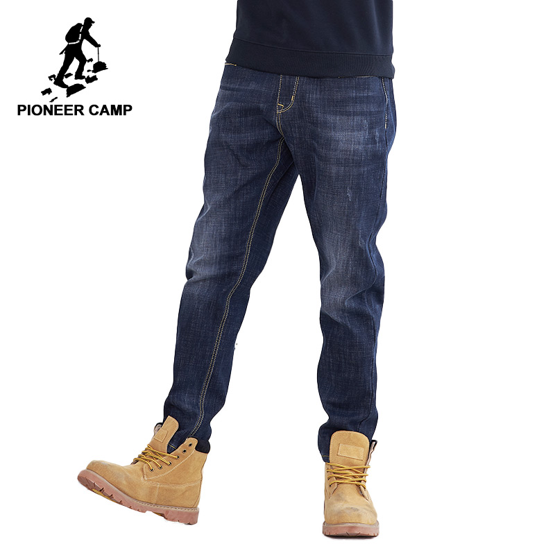 Pioneer Camp Thick Fleece Warm Jean Men Brand Clothing Autumn Winter Black Denim Pants Male Quality Solid Trousers ANZ710001