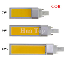 1pcs G24 E27 G23 7W/9W/12W COB LED Corn Light Cold White Warm White Horizontal Plug LED Lamp Bulb 85-265V Free Shipping CE RoHS