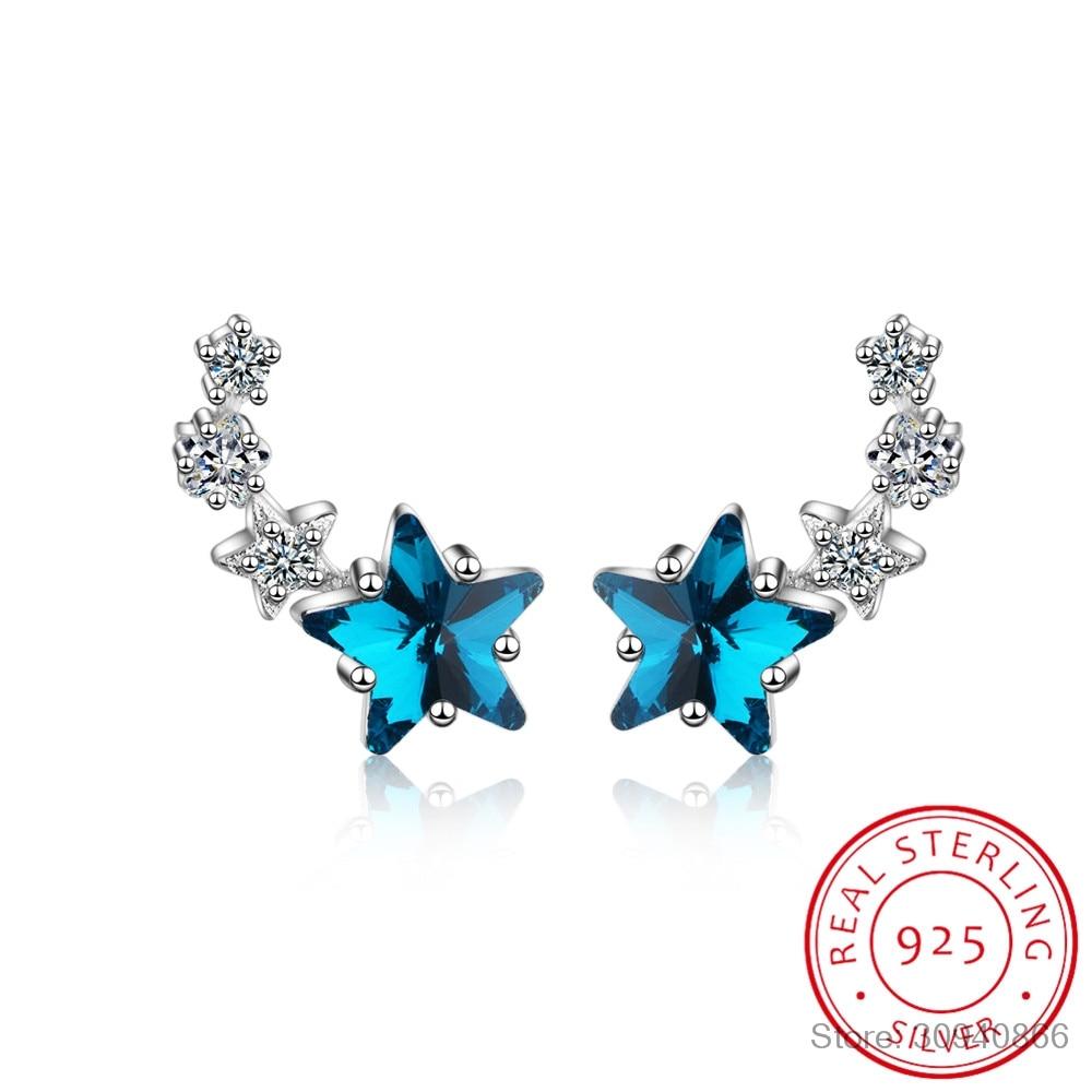 Fashion Blue Zirconia Star 925 Sterling Silver Stud Earrings For Women Sterling-silver-jewelry Small Studs Earring