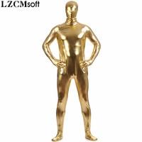 LZCMsoft Men Full Body Gold Metallic Zentai Adults Shiny Bodysuits Spandex Lycra Tights Costumes Plus Size Skin Suits Halloween