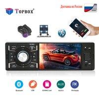 Topbox Car Radio 1 Din 4 inch Radio Car Touch Screen Auto Audio Car stereo Bluetooth Rear View Camera USB AUX FM Player Camera