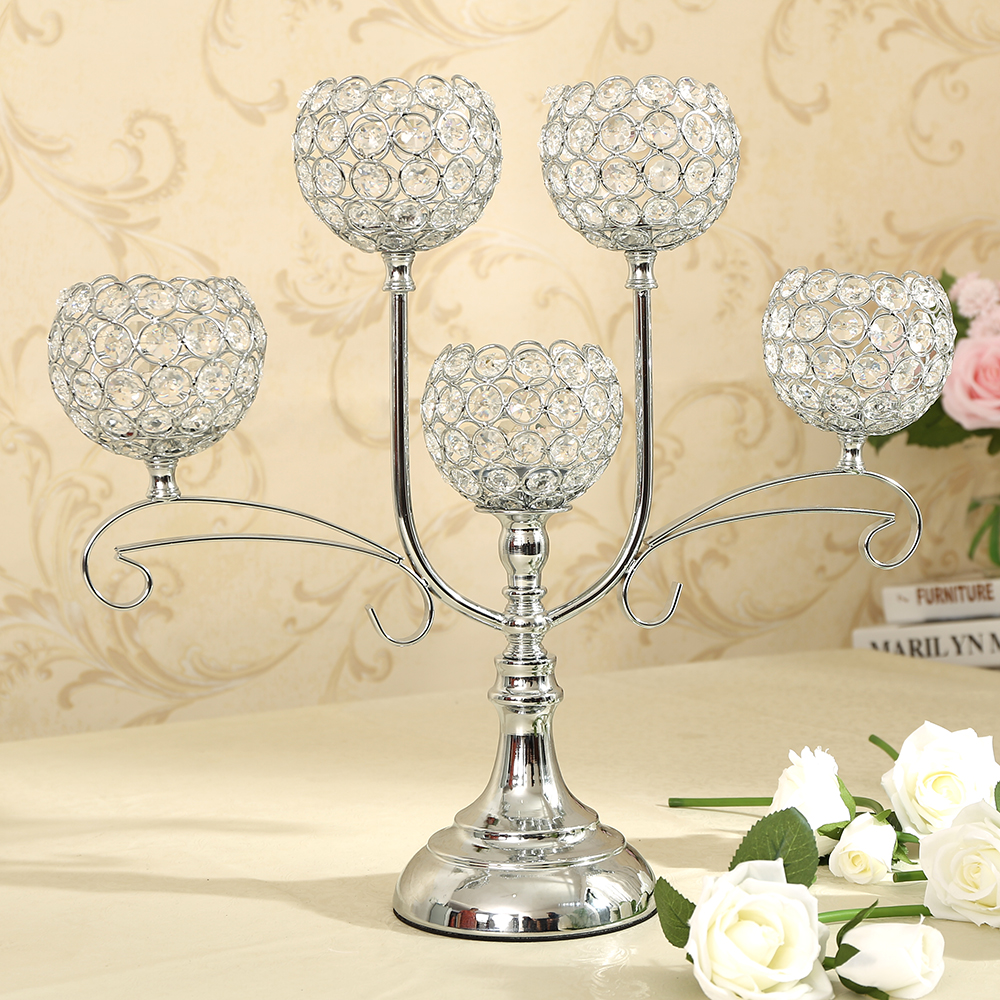 Decorative Pillar Crystal Candle Holders Table Decoration