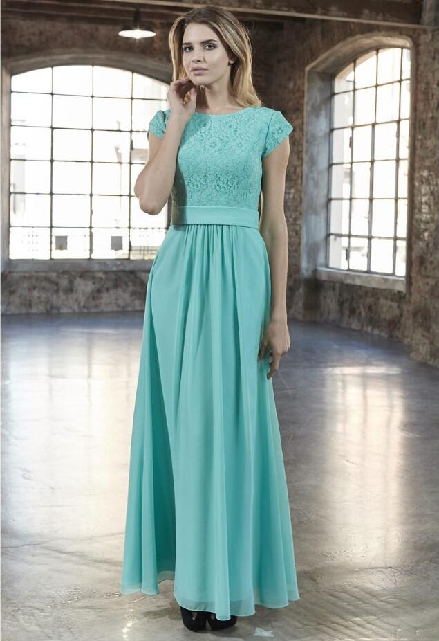 Mint Lace Chiffon Long Modest   Bridesmaid     Dresses   With Cap Sleeves Round Neck A-line Women Formal   Bridesmaid   Gown Custom Made