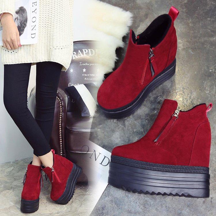Mujeres De Moda Nieve Casual Flock Cuña Cm 13 Negro Aumento Botas Plataforma Altura Botines Invierno red Black Mantener Piel Zapatos nWcFf