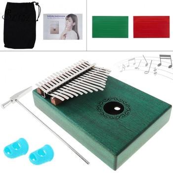 17 Key Green Kalimba Finger Piano Single Board Mahogany Thumb Piano Mbira Mini Keyboard Instrument with Complete Accessories