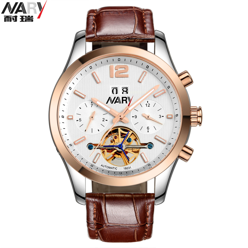 NARY Luxury Brand Automatic Mechanical Watches Men Waterproof Luminous Tourbillon Watch Calendar Leather Gold Wristwatch Man New hee grand women s candy pants 2017 pencil jeans ladies trousers mid waist full length zipper stretch skinny women pant wkp004
