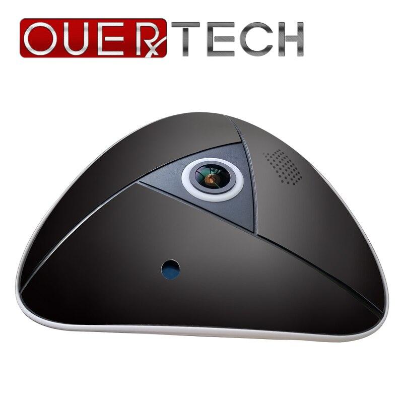 Ouertech visão completa wifi 360 graus de áudio em dois sentidos panorâmica mini 3mp fisheye câmera ip vr suporte sem fio inteligente 64g