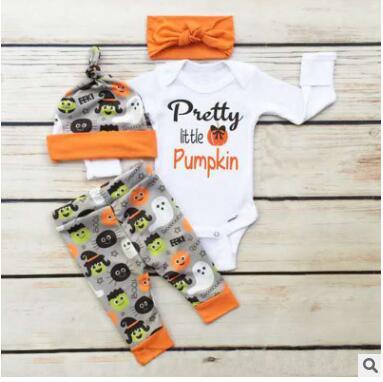 New styles 2018 hot selling baby clothing set pretty pumpkin print long sleeve romper pants hat