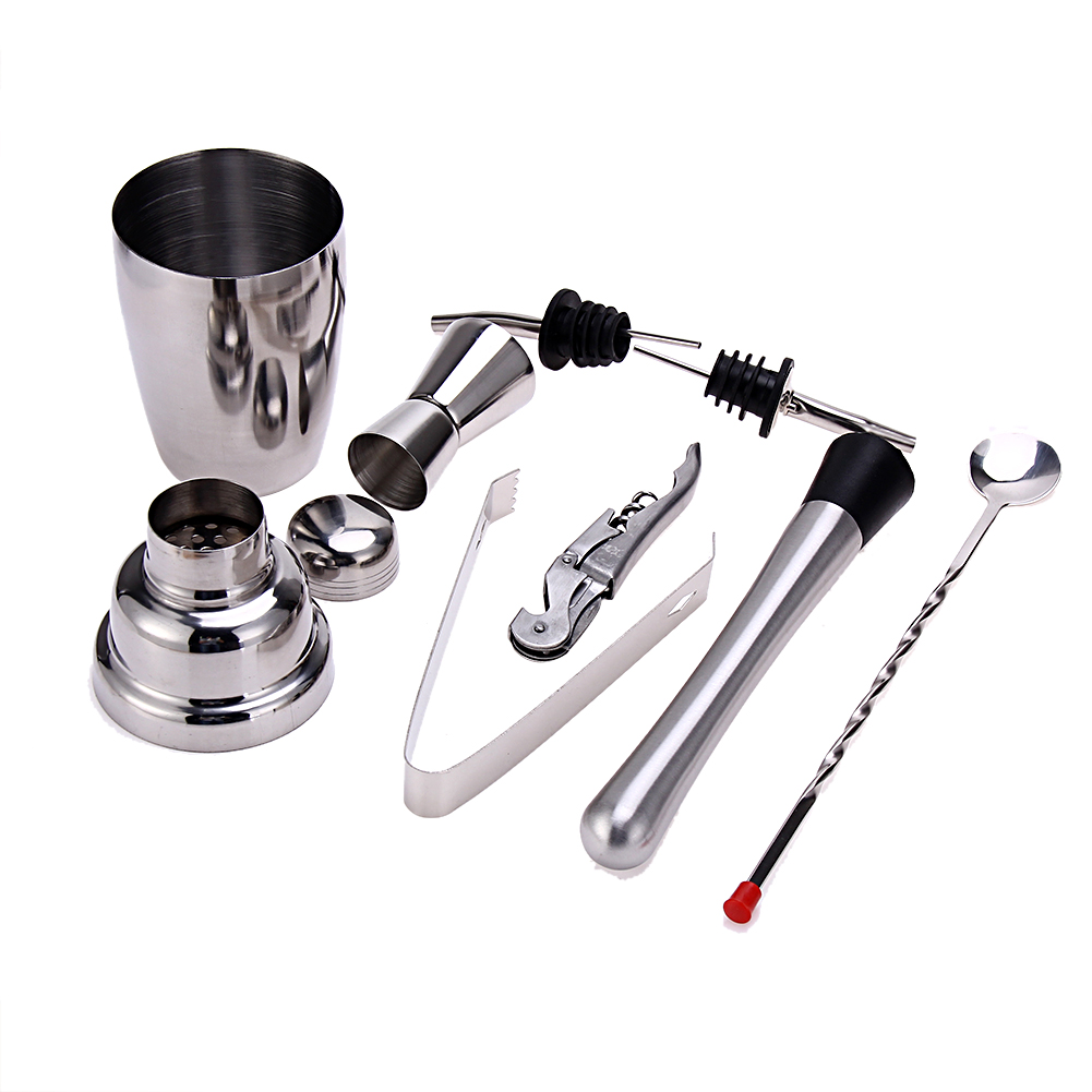 8pcs/set Stainless Steel Cocktail Bartender Shaker Wine Tools Jigger Mixing Spoon Ice Tongs Corkscrew Muddler Pourers Bar Tools