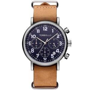 Image 4 - นาฬิกาข้อมือTORBOLLOแบรนด์หรูนาฬิกาทหารผู้ชายนาฬิกาควอตซ์Chronograph 6 มือนาฬิกาหนังผู้ชายนาฬิกาข้อมือกีฬาRelogio Masculino