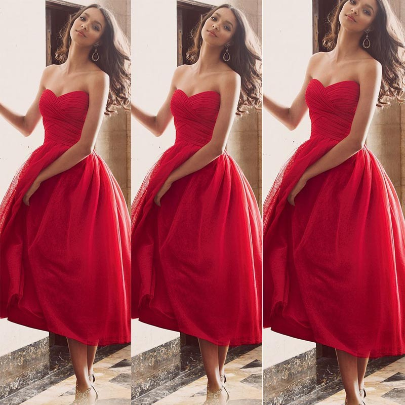 Fashionable Ankle Length Maid Of Honor Dresses Sweetheart Neckline ...