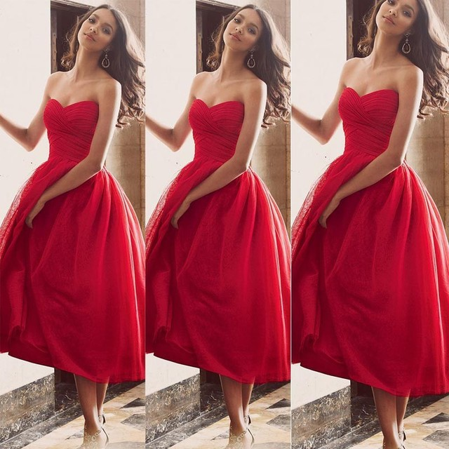 e66efbfc2c7 Fashionable Ankle Length Maid Of Honor Dresses Sweetheart Neckline Pleats  Lace Red Ball Gown Bridesmaid Dresses 2015 New