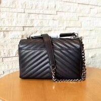 Frauen aus echtem leder college taschen umhängetaschen weichem handtaschen V designer hohe qualität tote silber kette marke taschen
