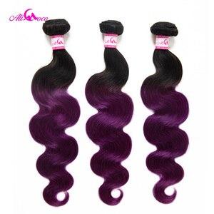 Али Коко бразильские волнистые волосы для наращивания, 3 пучка, 1B/фиолетовый цвет, Remy волосы 8-30 дюймов, натуральные кудрявые пучки волос