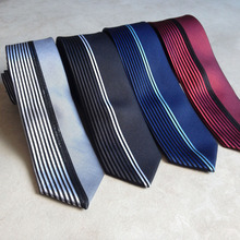 Lingyao New Designer's Tie Fashion Men Skinny Panel Necktie Half Solid with Half Vertical Stripes