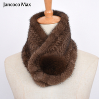 Women's Luxury Real Mink Fur Scarf Winter Warm High Quality Muffler Fashion Style Genuine Mink Neckerchief S7476