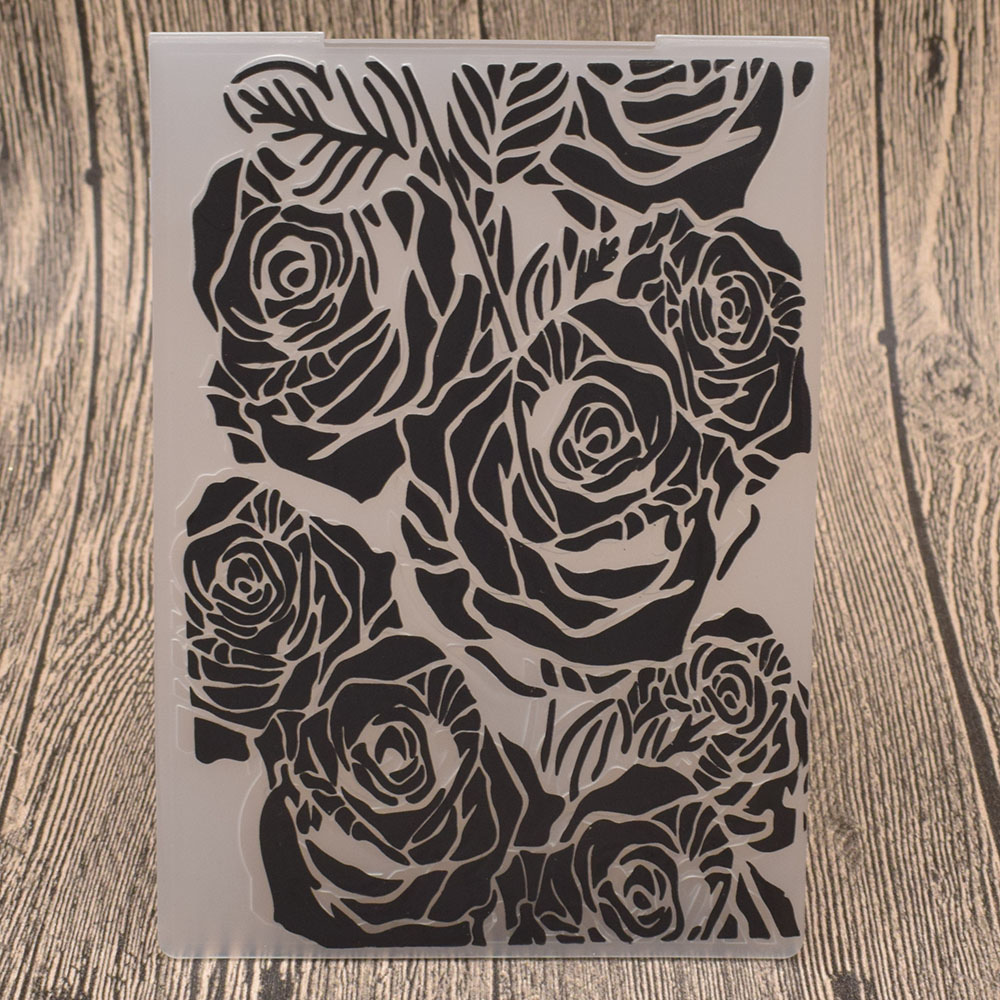Rose Flowers Plastic Embossing Folders for DIY Scrapbooking Wedding Card Making Paper Craft Template