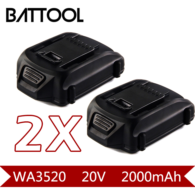 2X 2000mAh 20V Li-ion WA3520 Rechargeable Battery: WORX WA3520 WG545 WG155 WG255 WG251 WG151 WG151.5 WG155 WG155.5 2packs 2000mah 12v li ion wa3503 rechargeable battery for worx wu127 wu151 wx6777 wx3827 wx125wx125 6 wx125 7 wx125 m wx126