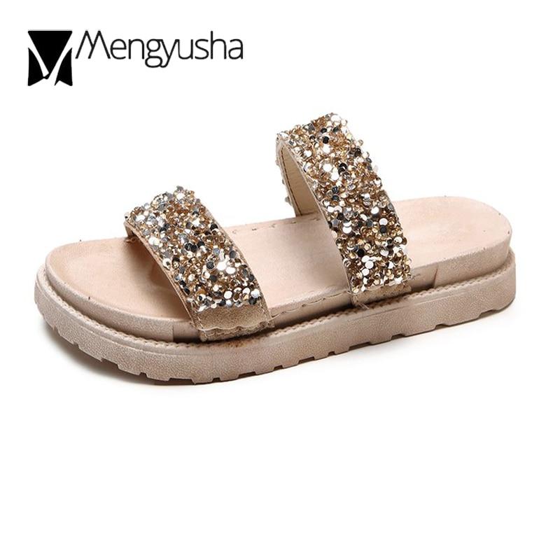 Sequins Summer Slippers Women Slip On Platform Rhinestone Creeper Sandals Shoes