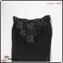 Clip in human Hair Extensions Hair Weaving Weft  natural Black #1B  Free shipping