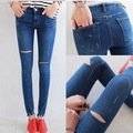 Весной 2016 года. вс-спички тонкие брюки рисовать колено отверстие джинсы брюки женские брюки карандаш
