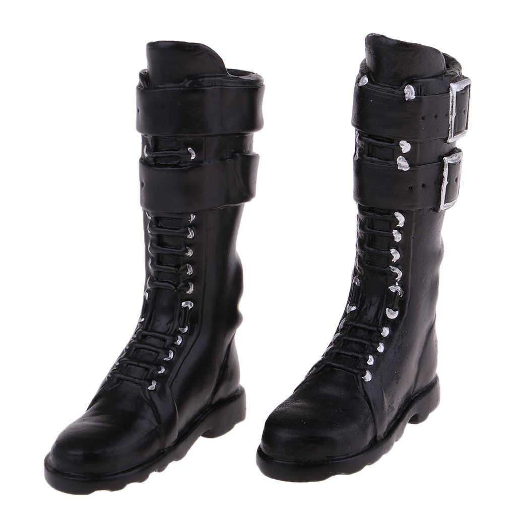 Botas de tacón plano para mujer a escala 1/6, zapatos a la rodilla de PU para 12 '', juguetes de moda, figura de acción Sideshow, zapatos de muñeca, medias botas