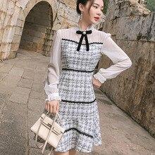 HAMALIEL осеннее женское платье русалки модное белое шифоновое лоскутное твидовое платье с оборками повседневное короткое платье с бантом и стоячим воротником