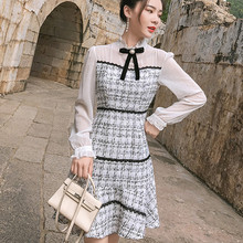 HAMALIEL Autumn Women Mermaid Dress 2018 Fashion White Chiffon Patchwork Tweed R