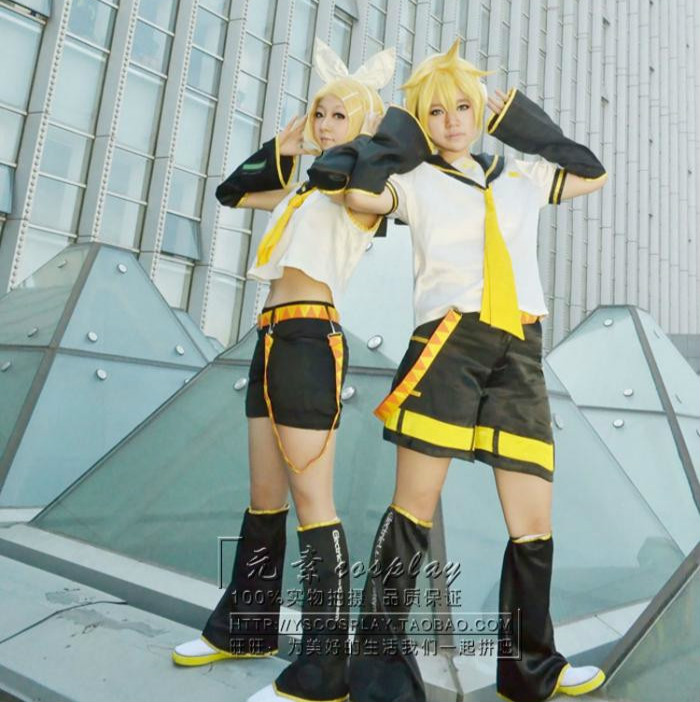 Wholesale Anime <font><b>Vocaloid</b></font> <font><b>Kagamine</b></font> <font><b>Rin</b></font> Sister/Brother Cosplay Costume Wholesale Halloween Christmas Party Uniform image