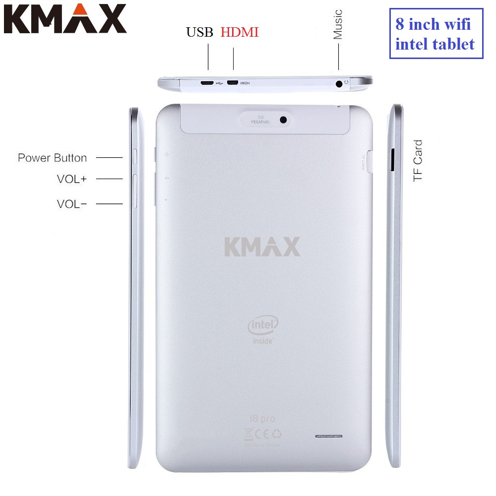KMAX 8 inch wifi HDMI Gaming Tablet pc Intel cpu Quad Core android USB 5MP Camera mini pad high quality 7 9 10 cheap keyboard original and hs6637 ver 2 1 cpu 9 5 high quality