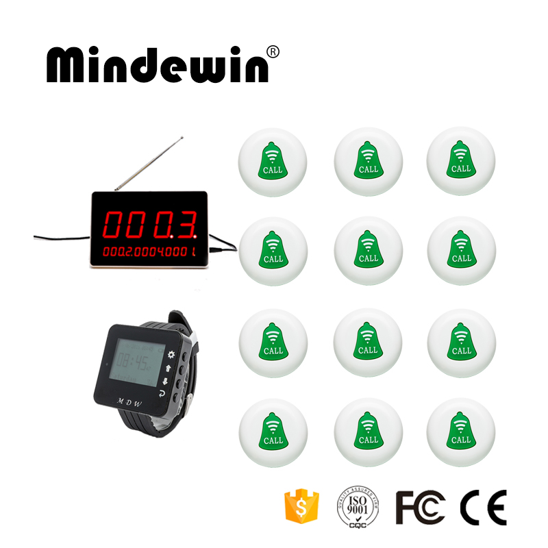 Mindewin Long Range Wireless 12pcs Waiter Calling Bell +1pc LED Display + 1pc Wrist Watch Restaurant Wireless Calling Service 2 receivers 60 buzzers wireless restaurant buzzer caller table call calling button waiter pager system