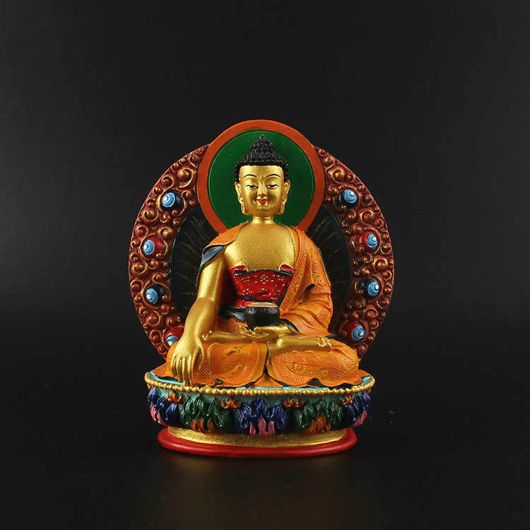 Sakyamuni Statue Buddhist Supplies Painted Three Treasures Buddha Statues Buddha Temple Dedicated Resin Crafts Home Decorations