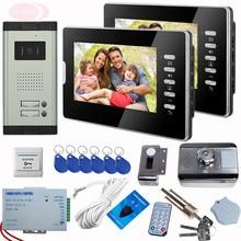 Door Video Phone Intercom System Outdoor Intercom 7 Inch Video Door 2 Monitor White/Black For Choose Rfid Unlock Electronic Lock