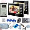 Door Video Phone Intercom System Outdoor Intercom 7 Inch Video Door 2 Monitor White Black For