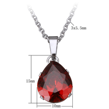 18 Inch earring necklace Teardrop oval chain cubic zirconia faceted more colors 10x15x7mm Stainless Steel Jewelry Sets