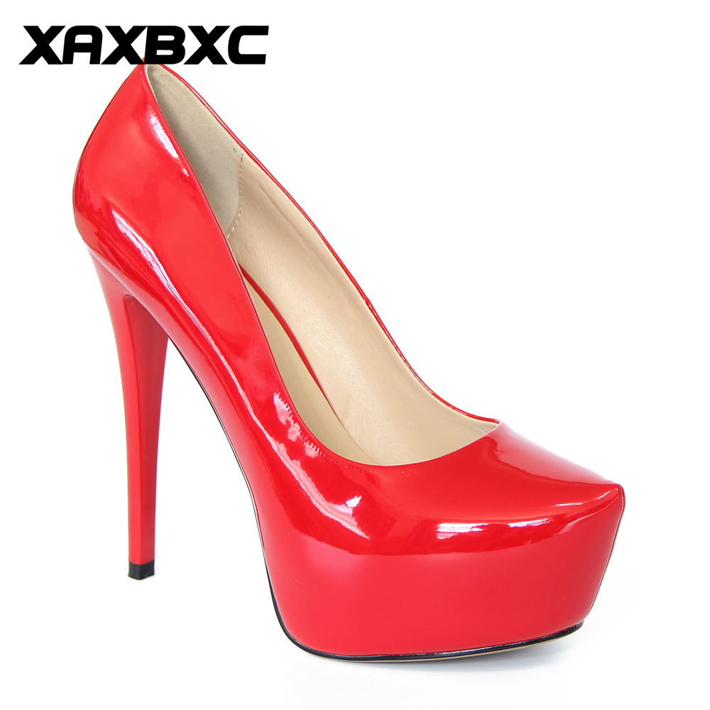 XAXBXC Sexy Fashion PU Leather Pumps Women High Heels Women Shoes Pink Platform Thin Heel Sandals Handmade Casual Lady Shoes cicime women s heels thin heel spikes heels solid slip on wedding fashion leisure casual party dressing high heel platform pumps