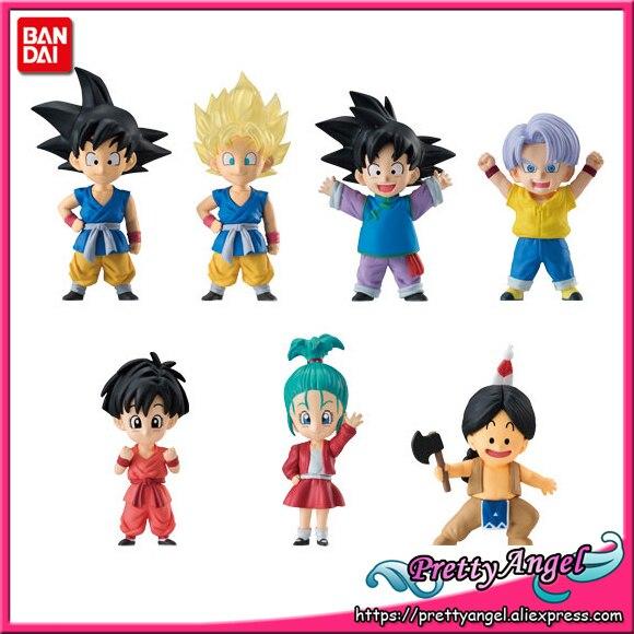 PrettyAngel Genuine Bandai ADVERGE EX 02 Dragon Ball Full Set 6 Pcs Goku Goten Trunks Pan Bulla Upa Toy Figure