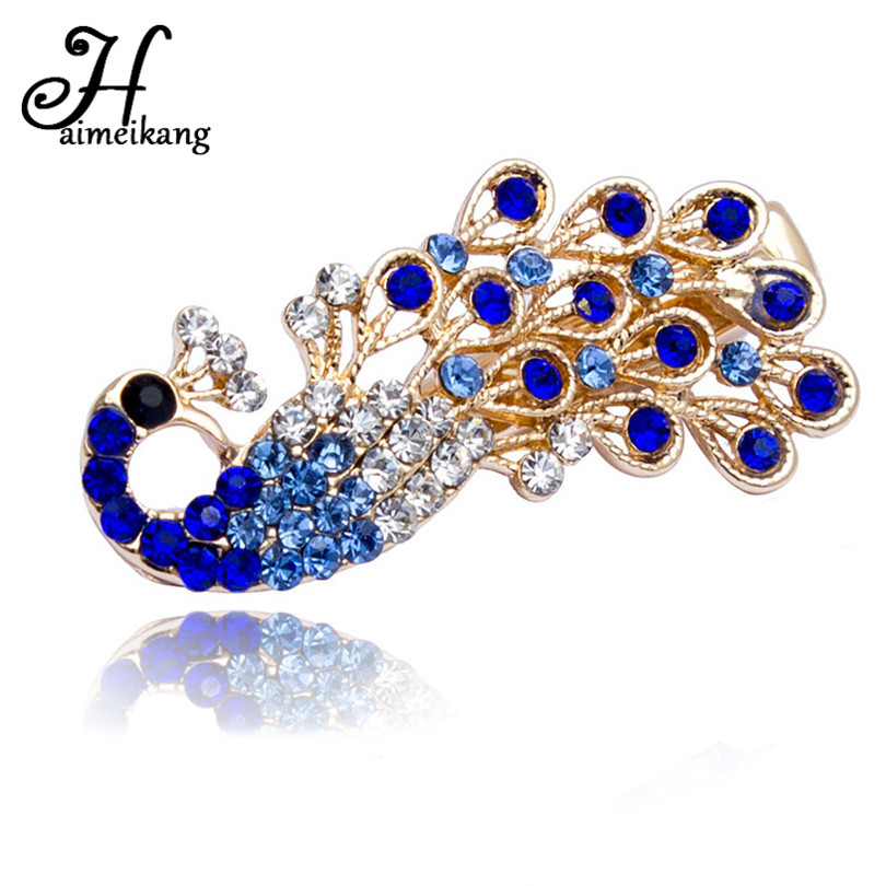 Haimeikang New Fashion Women Girl Colorful Shiny Crystal Rhinestones Peacock Hairpin Hair Clip Barrette Bridal Hair Jewelry halloween party zombie skull skeleton hand bone claw hairpin punk hair clip for women girl hair accessories headwear 1 pcs