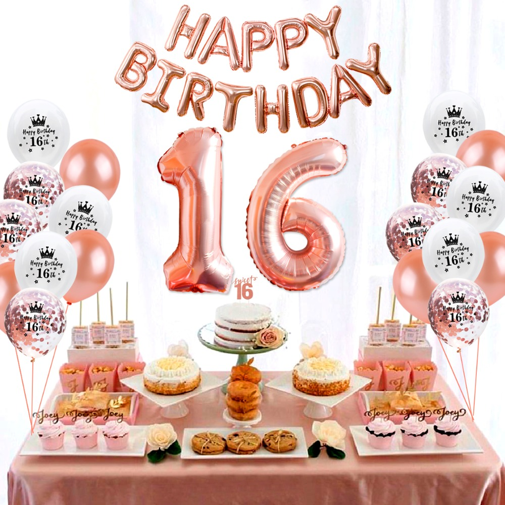 QIFU Happy Birthday Party Decorations Kids Adult 16th Balloons Sweet 16 Decor Rose Gold