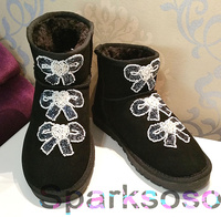 Handmade beading bow cowhide gem low short snow bootsfemale boots