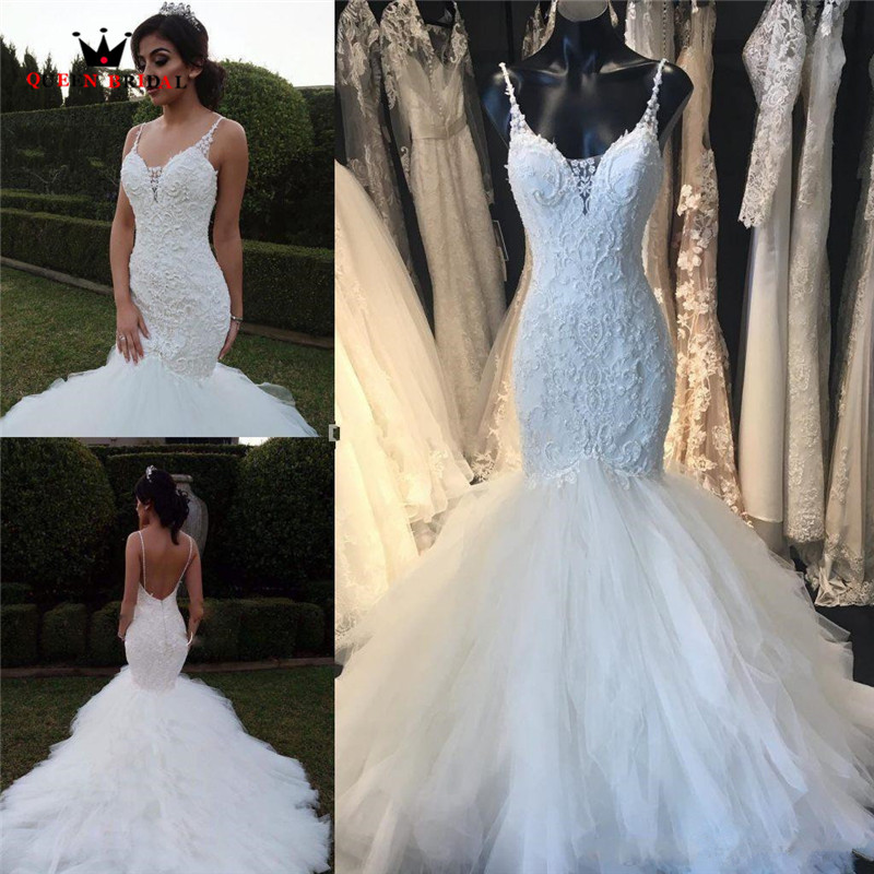 Custom Made Mermaid Backless Ruffle Train Lace Crystal Beaded Sequins Sexy Luxury Wedding Dresses Bridal Wedding Gowns SA10M