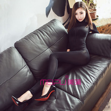 Zipper ecgii viscose tight bodysuit ultra-thin transparent women's one-piece open-crotch legging