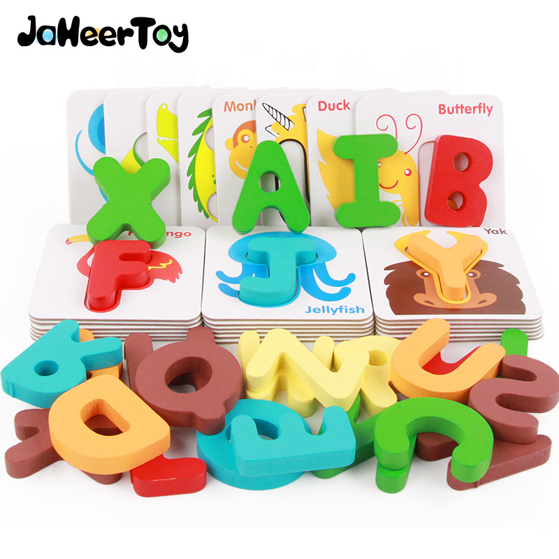 JaheerToy Jigsaw 3D Puzzle English Letter Baby Wooden Toys for Children Montessori Educational Toy Cartoon Animal Wood jaheertoy baby toys figure building blocks lion and elephant animal pattern funny educational wooden toys montessori kids