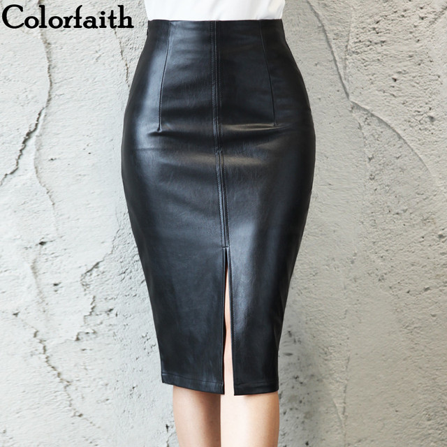 Colorfaith 2019 Women PU Leather Midi Skirt Autumn Winter Ladies Package Hip Front or Back Slit Pencil Skirt Plus Size SK8760