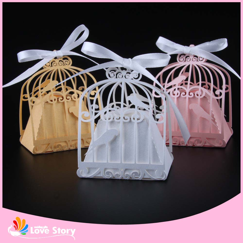 50pcs Birdcage Laser Cut Wedding Box Love Birds Candy Box Gift Box Wedding Gifts And Favors Party Supplies Wedding Decorations